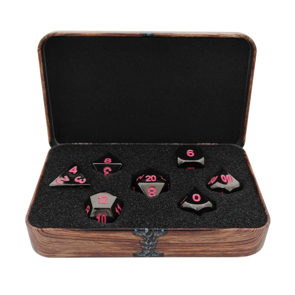 Metal Dice - Warlock Tome With Umbral Fae | Shiny Black Nickel Finish With Pink Numbering Metal Dice Set