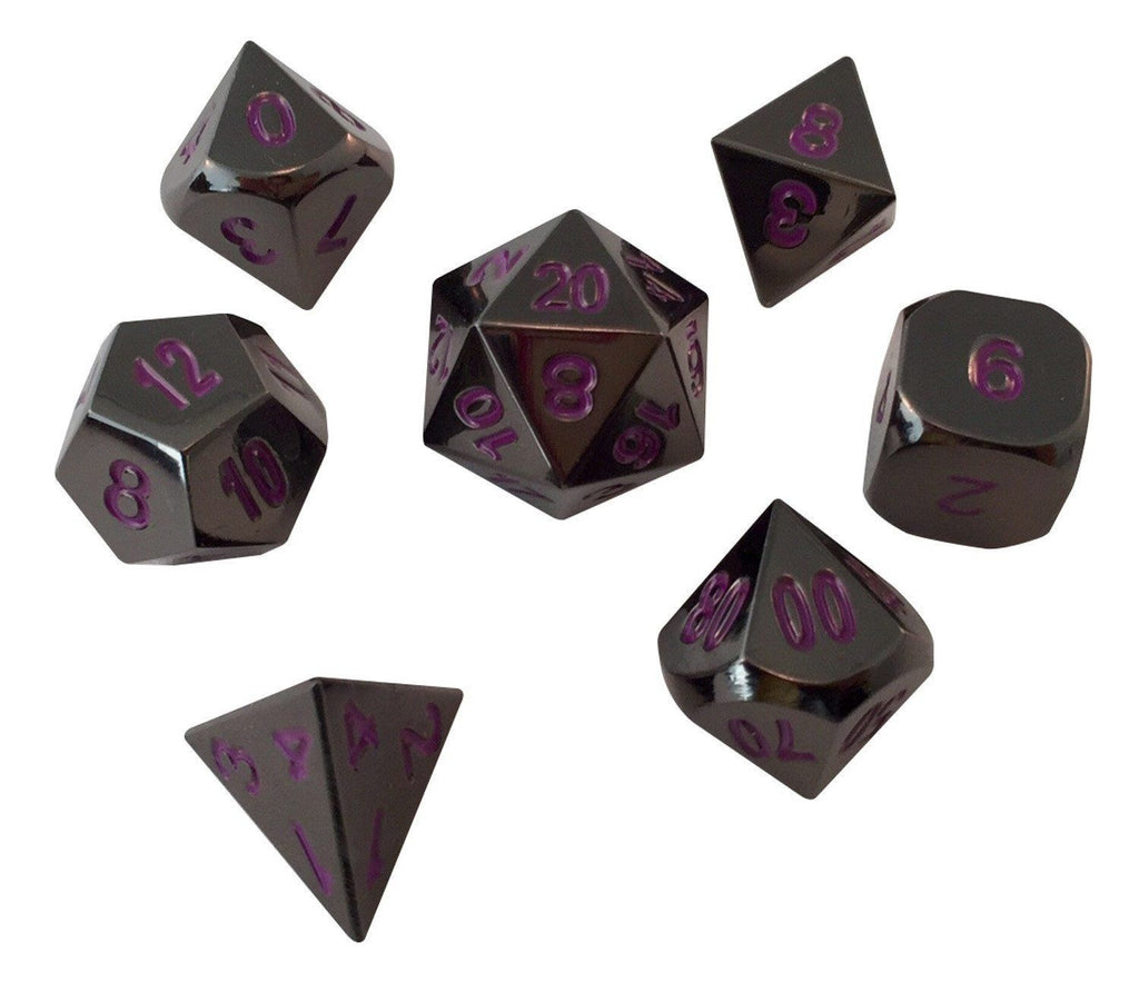 Metal Dice - Whispers Of The Void | Shiny Black Nickel With Purple Numbers Metal Dice (7 Die In Pack)