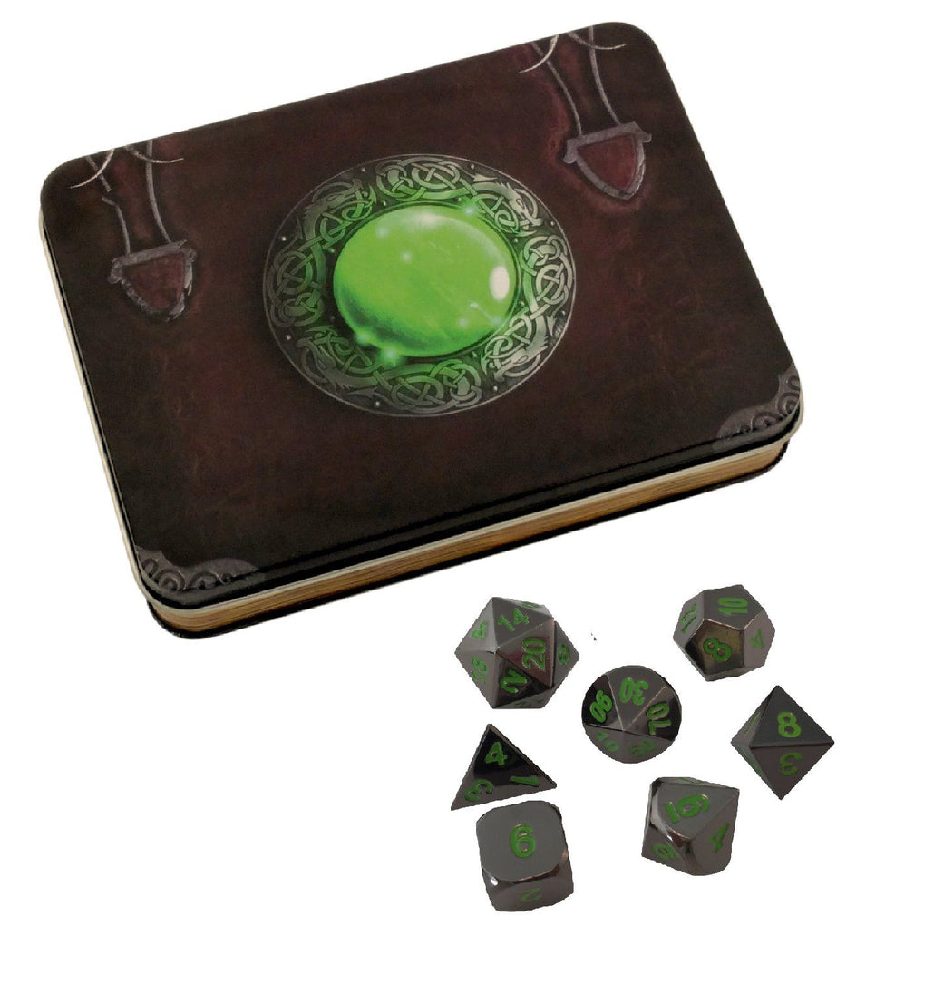 Wizard's Grimoire with Black Dragon | Shiny Black Nickel with Green Numbering Metal Dice