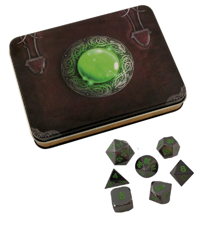Metal Dice - Wizard's Grimoire With Black Dragon | Shiny Black Nickel With Green Numbering Metal Dice