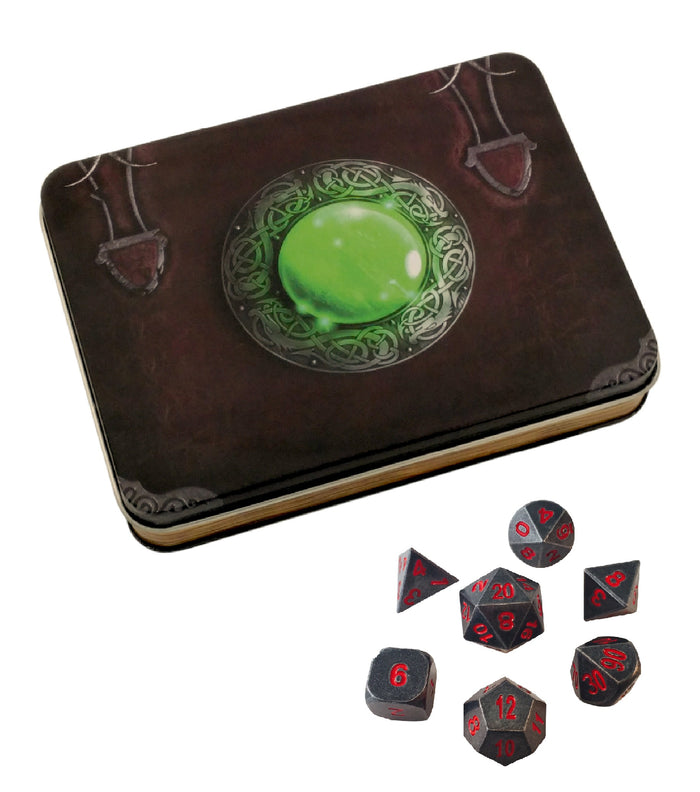 Metal Dice - Wizard's Grimoire With Butcher's Bill | Industrial Gray With Red Numbering Metal Dice