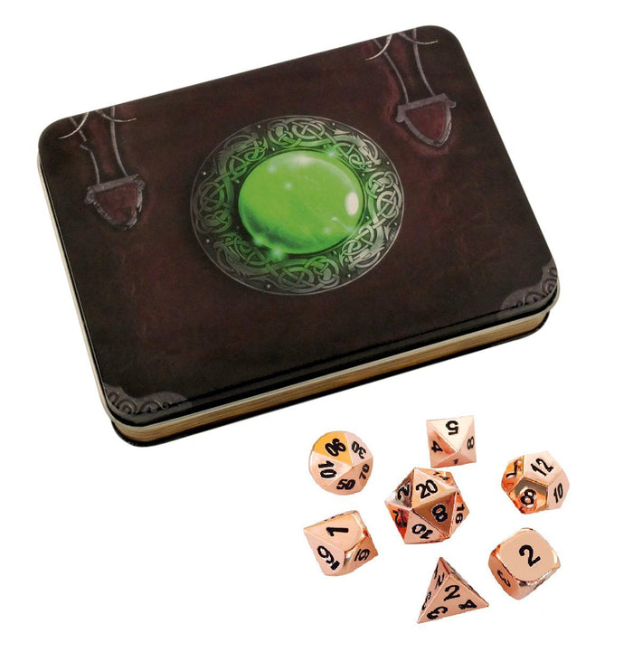 Metal Dice - Wizard's Grimoire With Copper Color With Black Numbering  Metal Dice