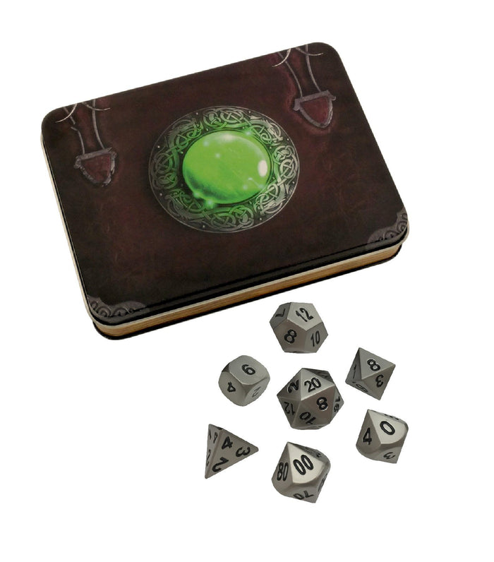 Metal Dice - Wizard's Grimoire With Executioner's Step | Dull Silver Color With Black Numbers Metal Dice