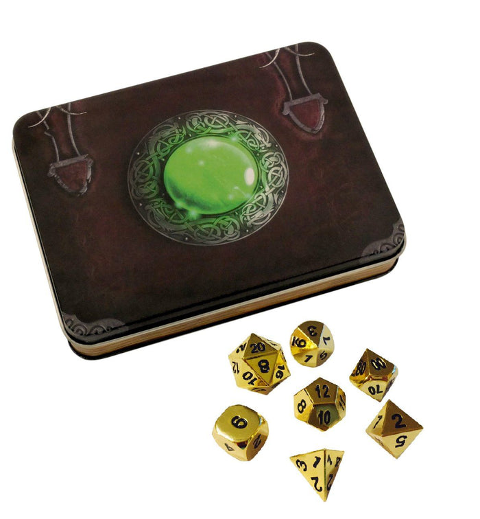 Metal Dice - Wizard's Grimoire With Gold Color With Black Numbers Metal Dice