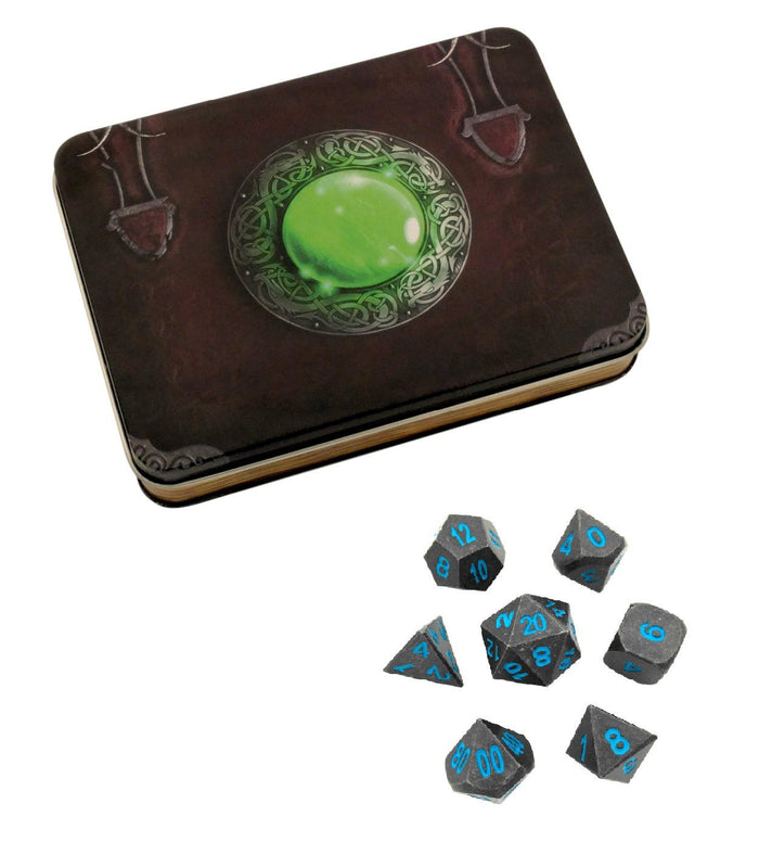 Metal Dice - Wizard's Grimoire With Ice King's Revenge | Industrial Gray With Blue Numbers Metal Dice