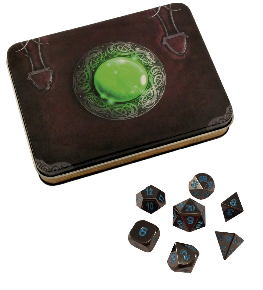 Wizard's Grimoire with Icy Doom | Shiny Black Nickel with Blue Numbering Metal Dice