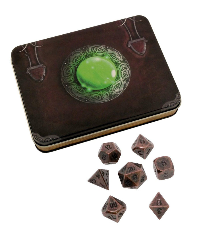 Metal Dice - Wizard's Grimoire With Industrial Brass Color With Black Numbers Metal Dice