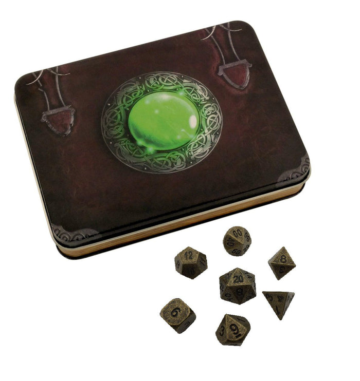 Metal Dice - Wizard's Grimoire With Industrial Gold Color With Black Numbering Metal Dice