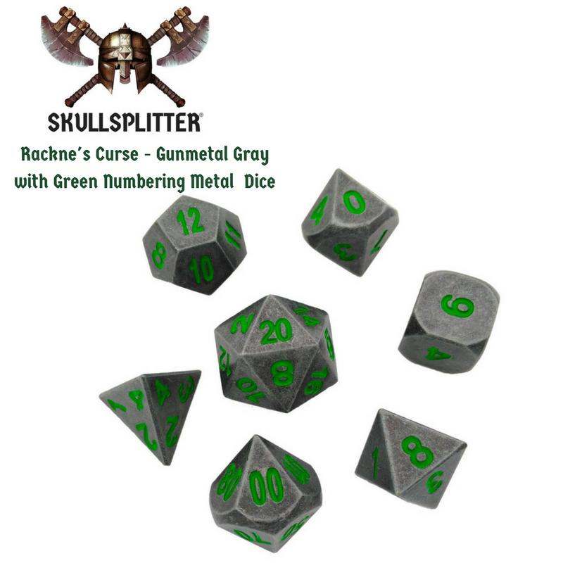 Metal Dice - Wizard's Grimoire With Rackne's Curse | Industrial Gray With Green Numbers Metal Dice