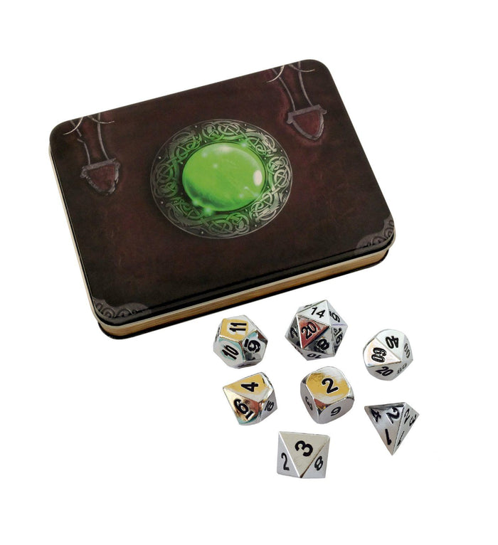 Metal Dice - Wizard's Grimoire With Shiny Chrome / Silver Color With Black Numbering Metal Dice Set