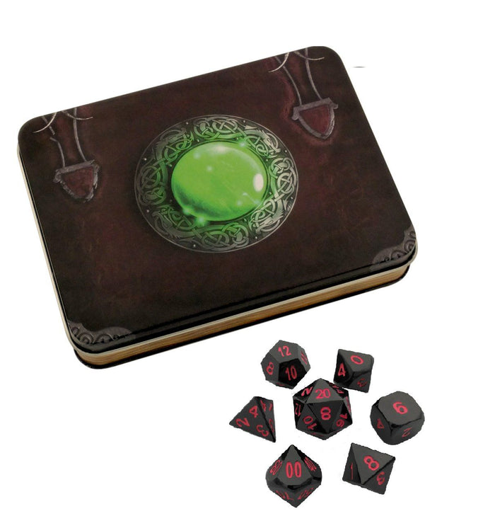 Metal Dice - Wizard's Grimoire With Umbral Fae | Shiny Black Nickel Finish With Pink Numbering Metal Dice Set
