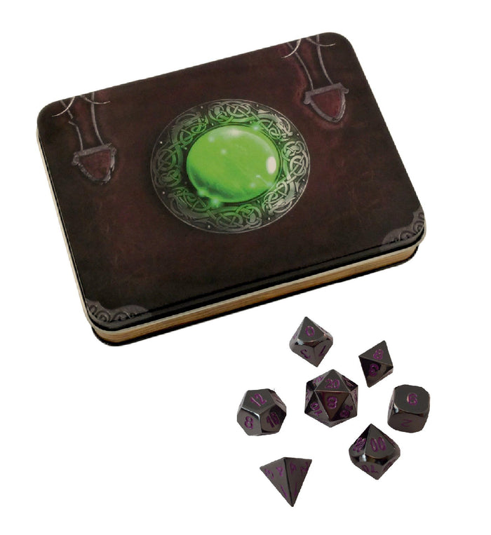 Metal Dice - Wizard's Grimoire With Whispers Of The Void | Shiny Black Nickel With Purple Numbering  Metal Dice