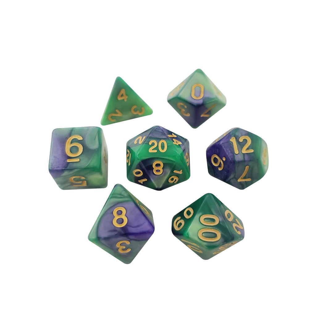 Ozymandius - Green and Purple Swirled Color - Set of 7 Polyhedral RPG Dice for D&D