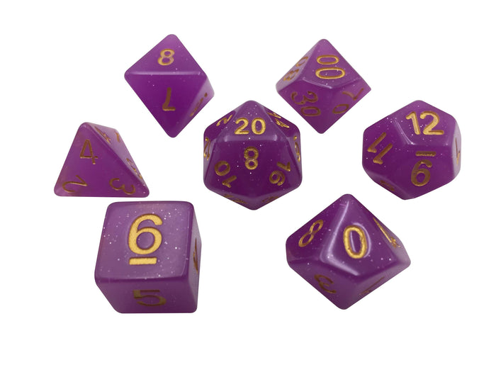 Pink Semi Translucent With Gold Numbers And Sparkles-  Set Of 7 Polyhedral RPG Dice For D&D