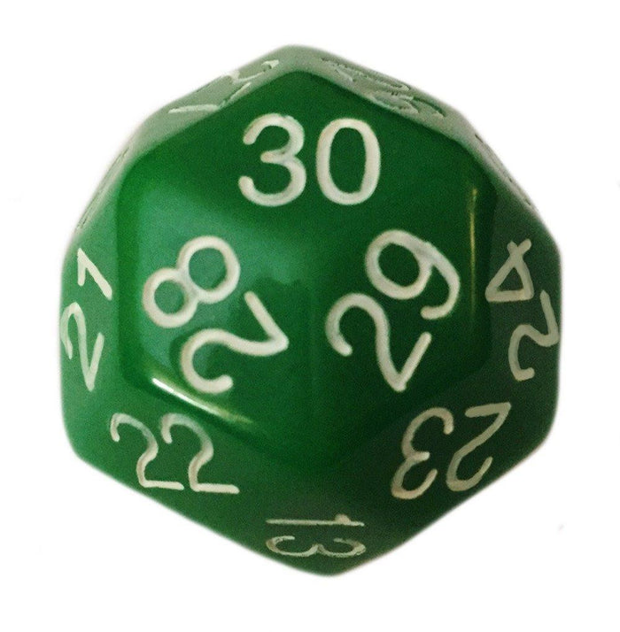 Polyhedral Dice - 30 Sided Polyhedral Dice (D30)- 32mm - Solid Green Color- (1 Each)