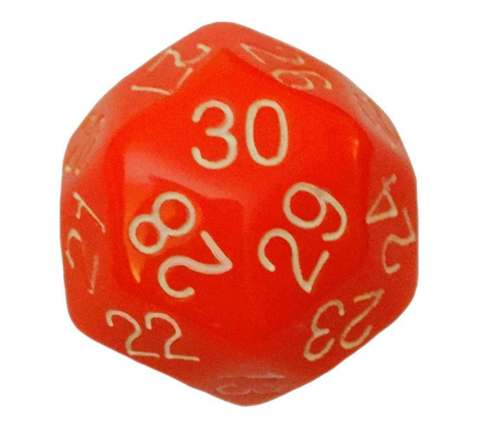 Polyhedral Dice - 30 Sided Polyhedral Dice (D30)- 32mm - Solid Orange Color- (1 Each)