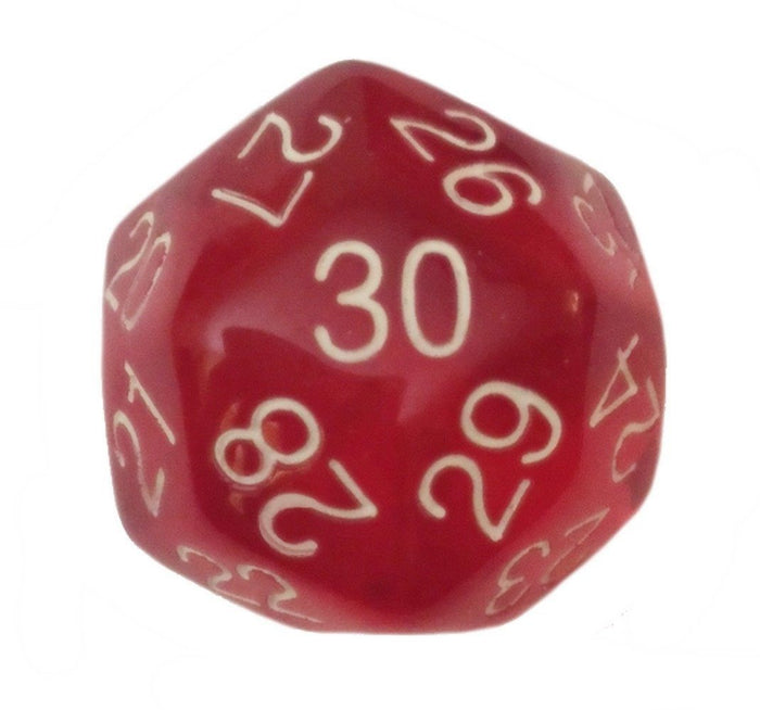 Polyhedral Dice - 30 Sided Polyhedral Dice (D30)- 32mm - Translucent Red Color- (1 Each)