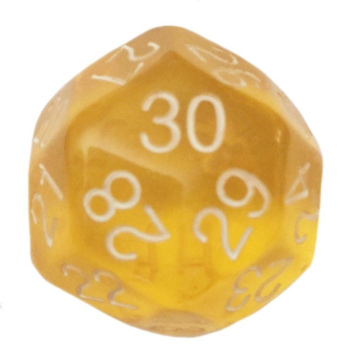 Polyhedral Dice - 30 Sided Polyhedral Dice (D30)- 32mm - Translucent Yellow Color- (1 Each)
