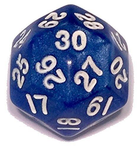 Polyhedral Dice - 30 Sided Polyhedral Dice (D30)- Blue Marbled Color- 25mm- RPG Games (1 Each)