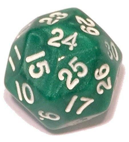 Polyhedral Dice - 30 Sided Polyhedral Dice (D30)- Green Marbled Color- - 25mm - RPG Games (1 Each)