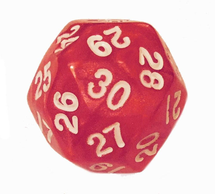 Polyhedral Dice - 30 Sided Polyhedral Dice (D30)- Red Marbled Color- - 25mm- RPG Games (1 Each)