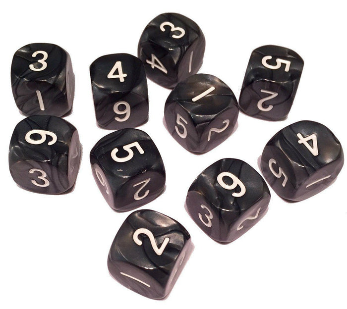 Polyhedral Dice - 6 Sided Role Playing Game Polyhedral Dice (D6)- Black Marbled Color- Set Of 10