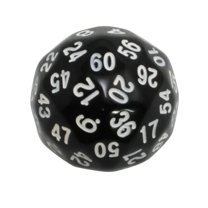Polyhedral Dice - 60 Sided Polyhedral Dice (D60)- 36mm - Solid Black Color- (1 Each)