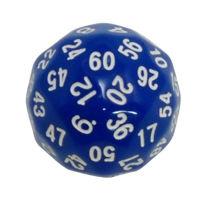 Polyhedral Dice - 60 Sided Polyhedral Dice (D60)- 36mm - Solid Blue Color- (1 Each)
