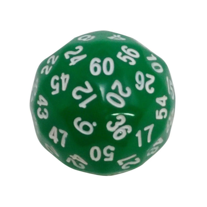 Polyhedral Dice - 60 Sided Polyhedral Dice (D60)- 36mm - Solid Green Color- (1 Each)