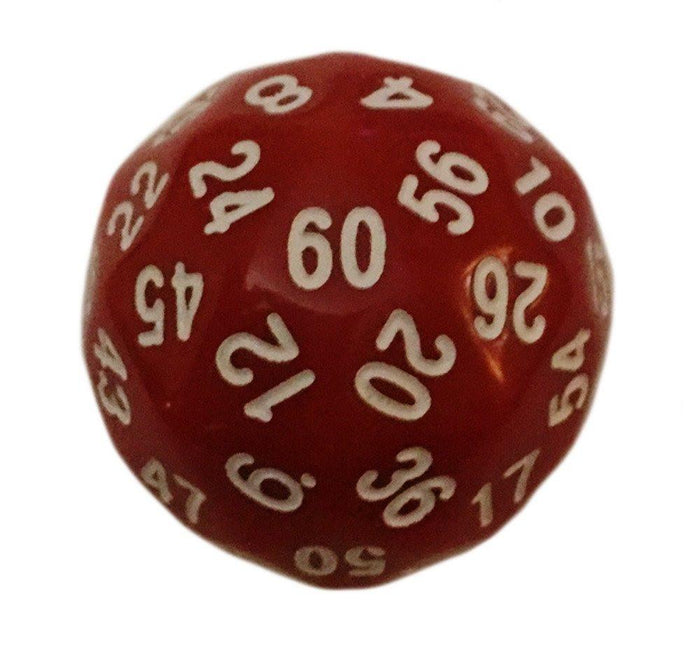 Polyhedral Dice - 60 Sided Polyhedral Dice (D60)- 36mm - Solid Red Color- (1 Each)