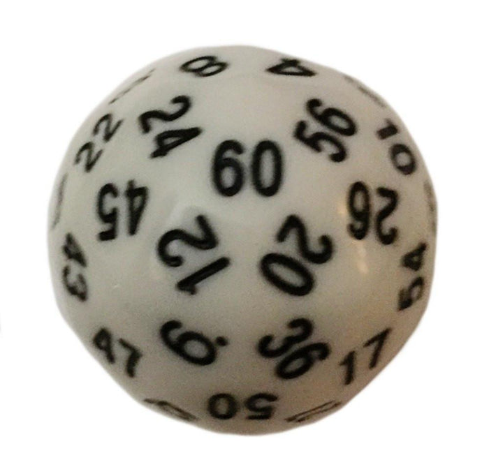 Polyhedral Dice - 60 Sided Polyhedral Dice (D60)- 36mm - Solid White Color- (1 Each)