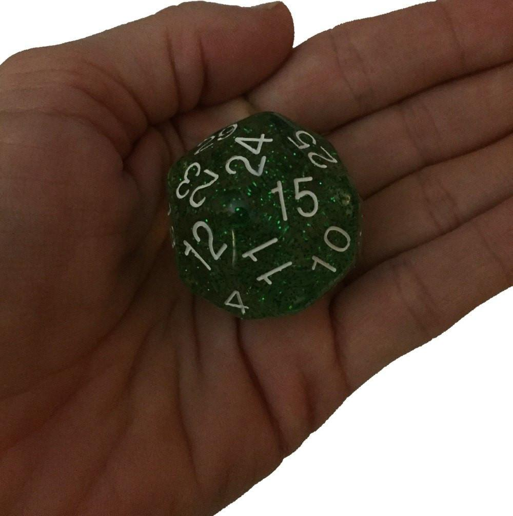 Polyhedral Dice - Green Glitter- 30 Sided Polyhedral Dice (D30)- 32mm - (1 Each)