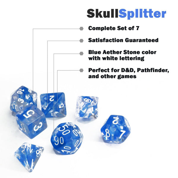 Blue And White Swirl Dice 7 Piece Rpg Dice Set
