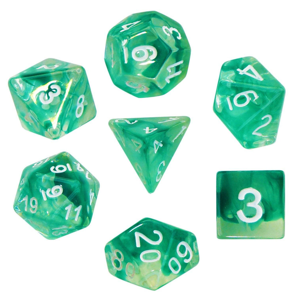 Aether Stone Green Color with White Numbers - Pack of 7 Polyhedral ...