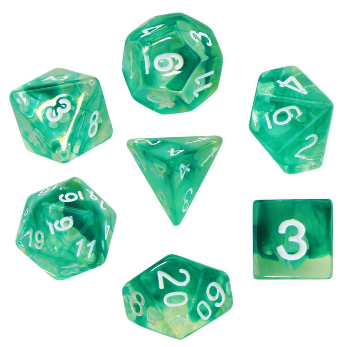 Polyhedral Dice Set - Aether Stone Green Color With White Numbers - Pack Of 7 Polyhedral Dice (7 Die In Set) | Role Playing Game Dice | D4, D6, D8, D10, D%, D12, And D20
