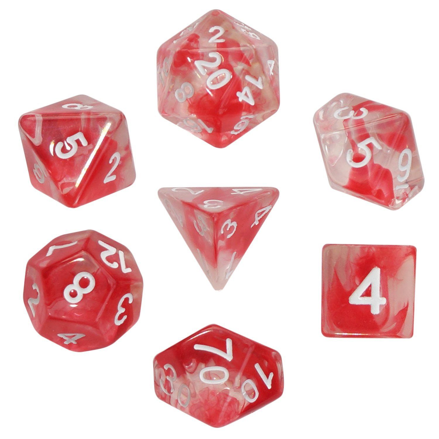 Aether Stone Red Color with White Numbers - Pack of 7 Polyhedral Dice (7 Die in Set) | Role Playing Game Dice | D4, D6, D8, D10, D%, D12, and D20