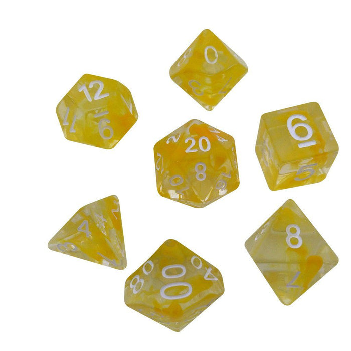 Polyhedral Dice Set - Aether Yellow Color With White Numbers - Pack Of 7 Polyhedral Dice (7 Die In Set) | Role Playing Game Dice