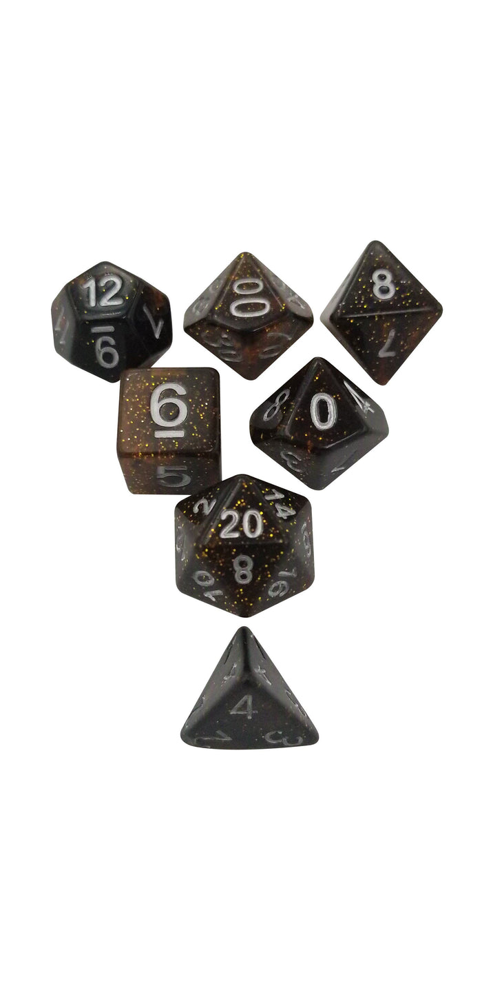 Polyhedral Dice Set - Amber Glitter Set Of 7 Polyhedral RPG Dice For D&D
