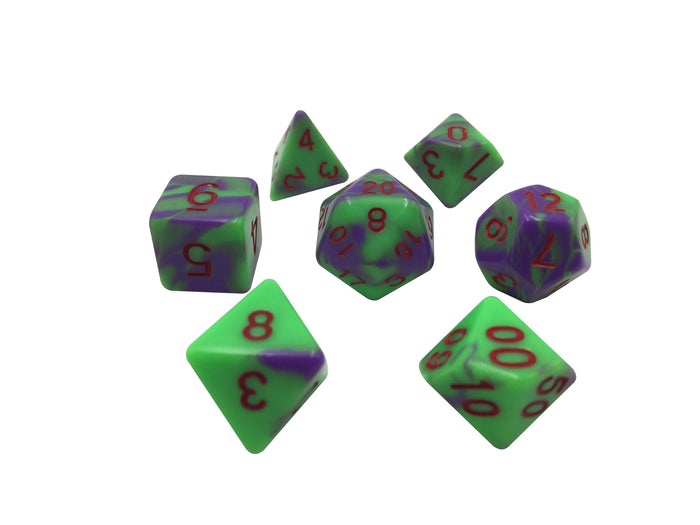 Polyhedral Dice Set - Bad Brains - Green And Purple Swirl With Red Numbering RPG Dice