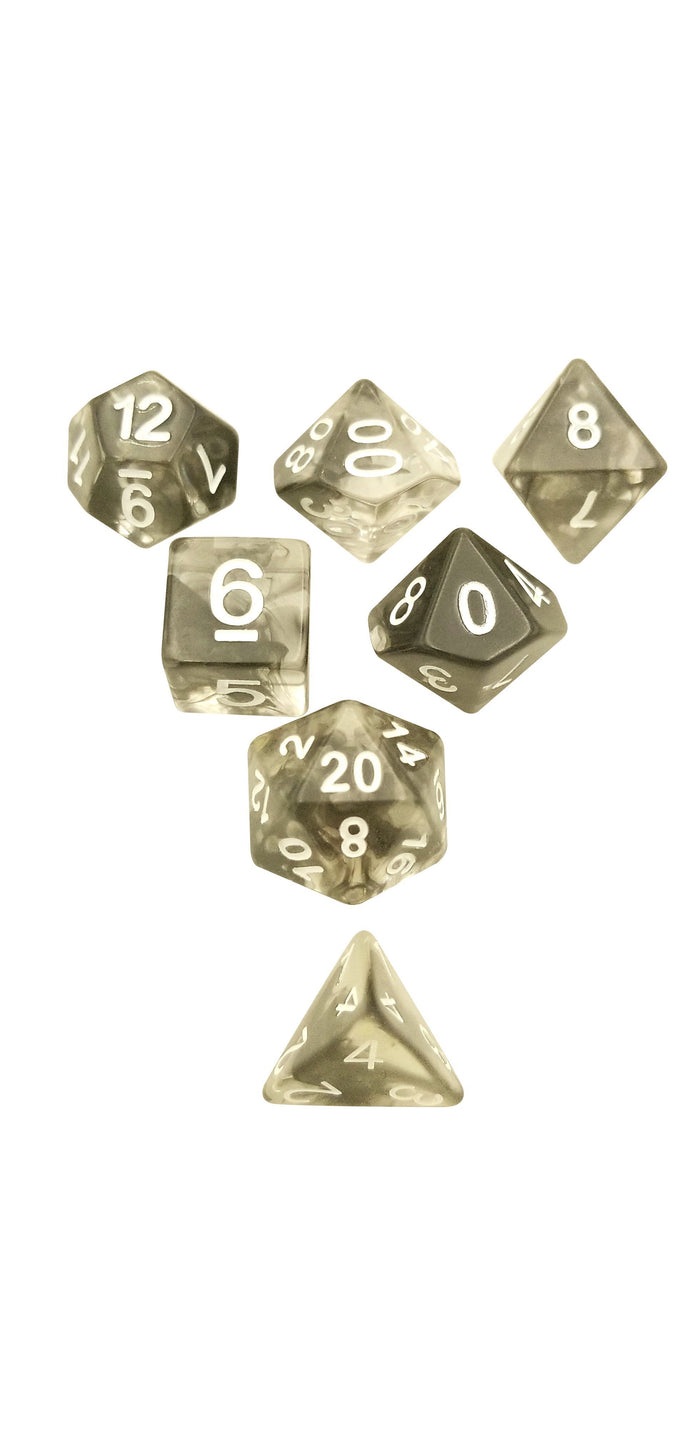 Polyhedral Dice Set - Black Aether Stone ™ Set Of 7 Polyhedral RPG Dice For D&D