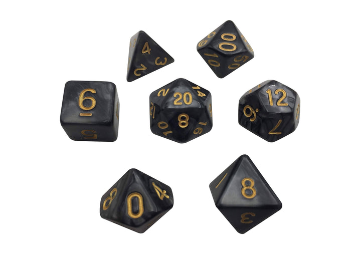 Polyhedral Dice Set - Black And Gray Marbled Color With Gold Numbers  Set Of 7 Polyhedral RPG Dice