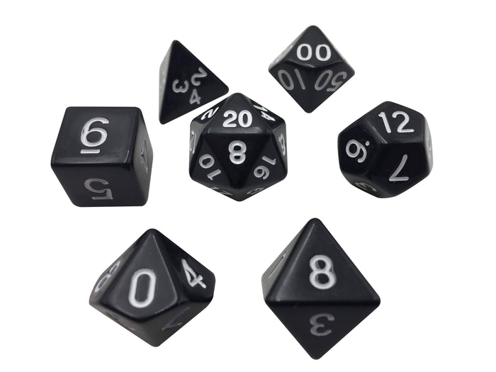 Polyhedral Dice Set - Black With White Numbers  Set Of 7 Polyhedral RPG Dice