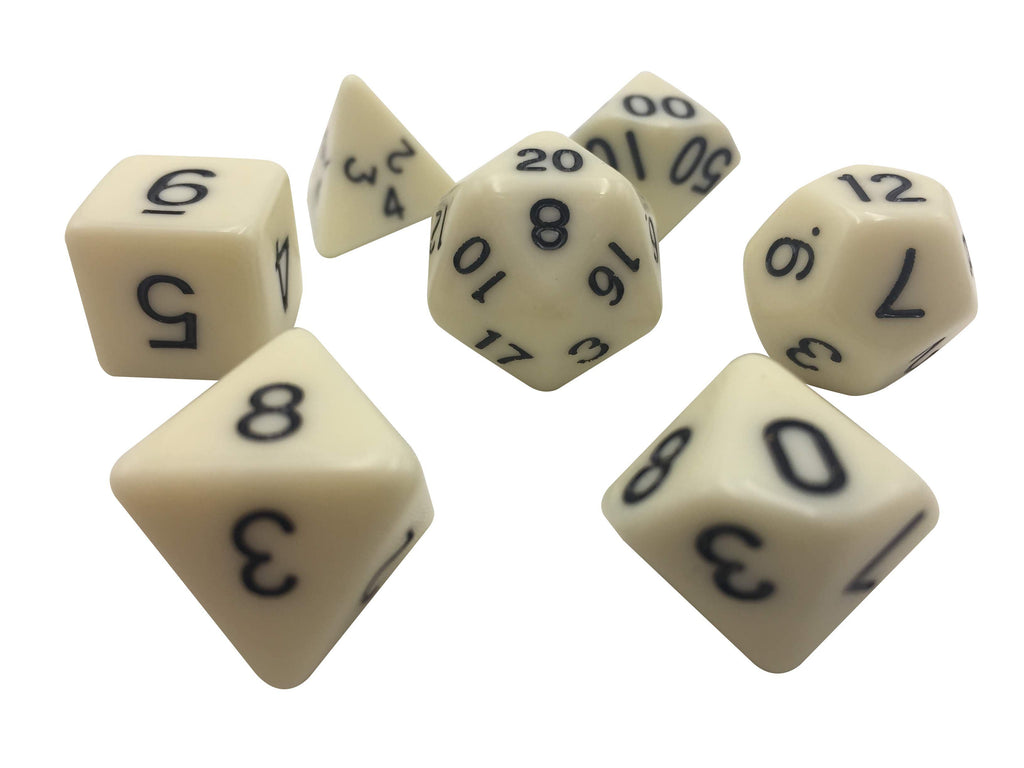 Polyhedral Dice Set - Bleached White Color With Black Numbers  Set Of 7 Polyhedral RPG Dice