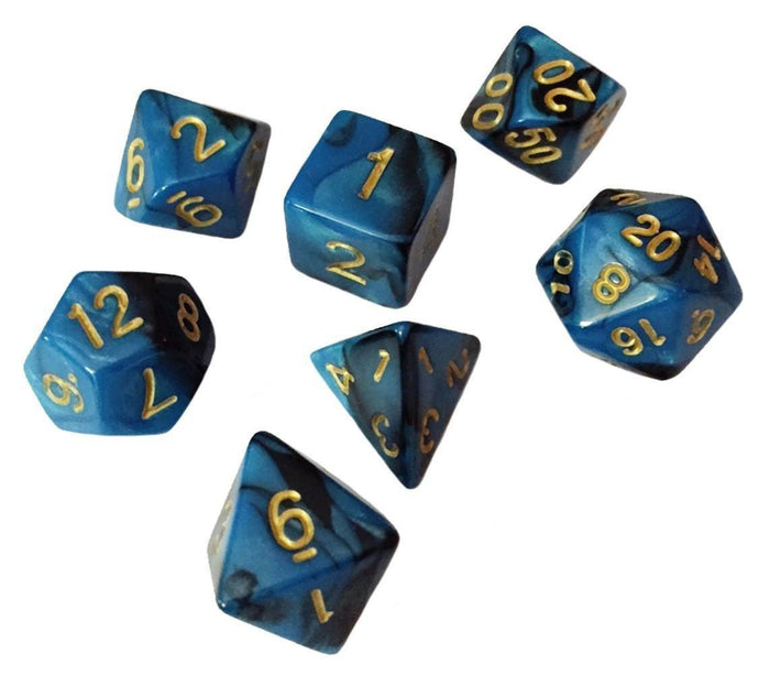 Polyhedral Dice Set - Blue And Black Swirled Color - Pack Of 7 Polyhedral Dice (7 Die In Set) | Role Playing Game Dice | D4, D6, D8, D10, D%, D12, And D20