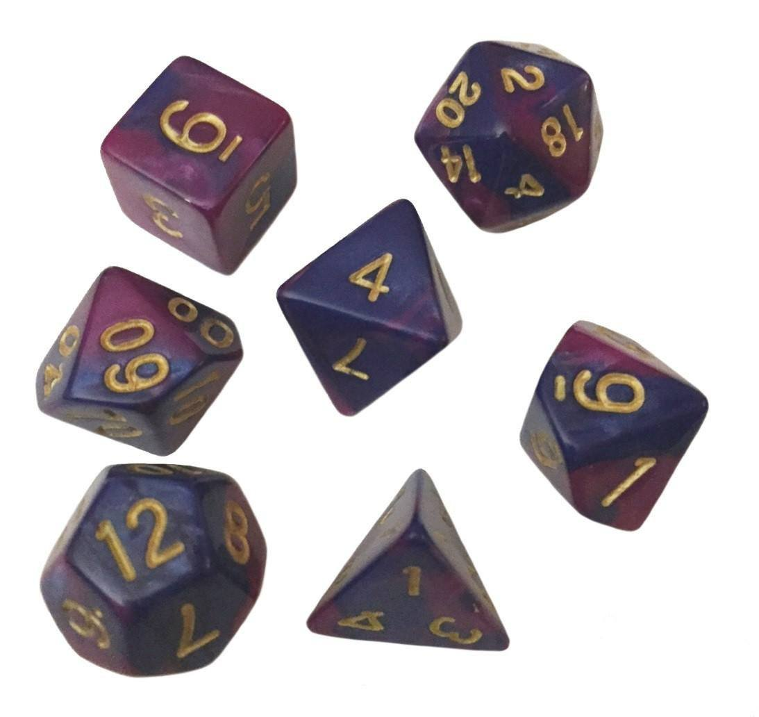 Blue and Purple Swirled Color - Pack of 7 Polyhedral Dice (7 Die in Set) | Role Playing Game Dice | D4, D6, D8, D10, D%, D12, and D20