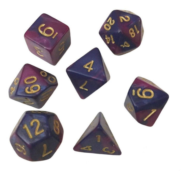 Polyhedral Dice Set - Blue And Purple Swirled Color - Pack Of 7 Polyhedral Dice (7 Die In Set) | Role Playing Game Dice | D4, D6, D8, D10, D%, D12, And D20
