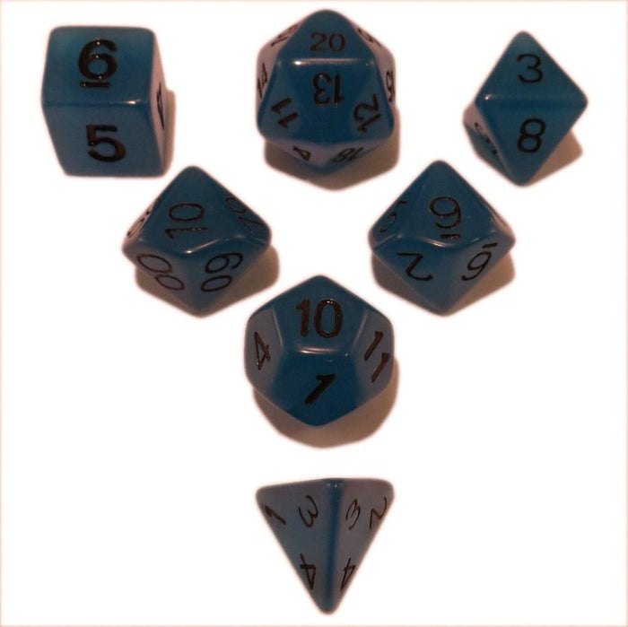 Polyhedral Dice Set - Blue Glow In The Dark - Pack Of 7 Polyhedral Dice (7 Die In Set) | Role Playing Game Dice | D4, D6, D8, D10, D%, D12, And D20