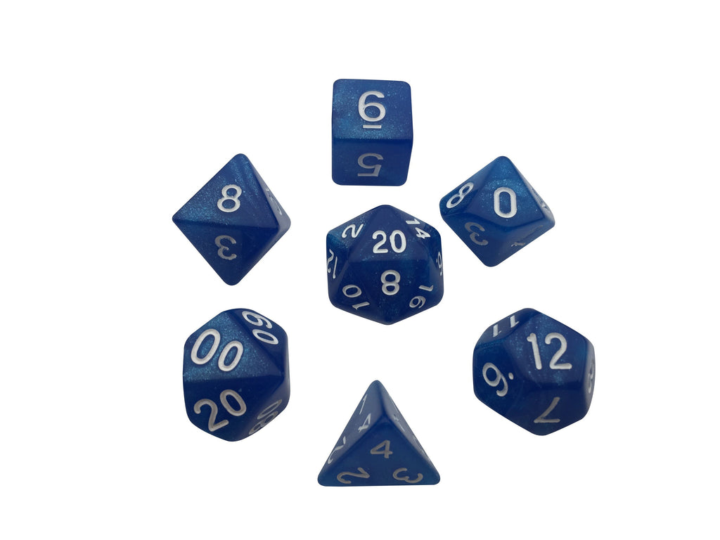 Polyhedral Dice Set - Blue Marbled Glitter - Pack Of 7 Polyhedral Dice (7 Die In Set) With Velvet Bag | Role Playing Game Dice | D4, D6, D8, D10, D%, D12, And D20