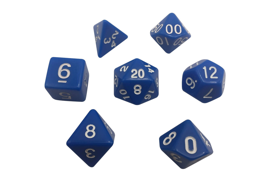 Polyhedral Dice Set - Blue With White Numbers  Set Of 7 Polyhedral RPG Dice