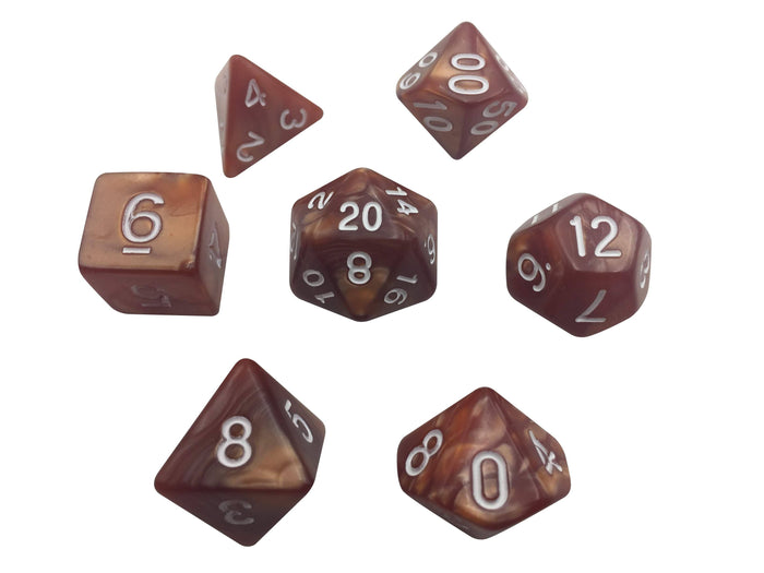 Polyhedral Dice Set - Brown Marbled With White Numbers  Set Of 7 Polyhedral RPG Dice